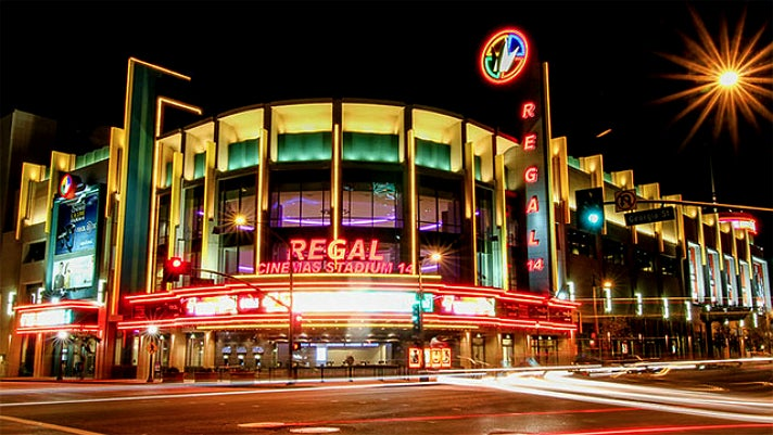 Regal Cinemas L.A. LIVE at night