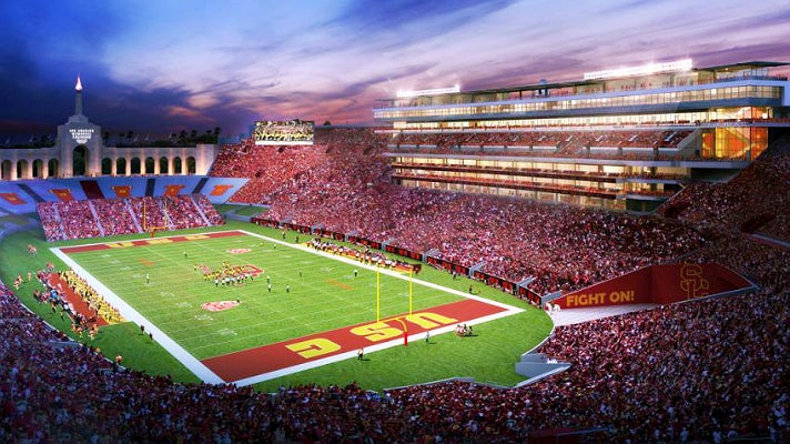 Rendering of L.A. Coliseum preliminary renovation plan