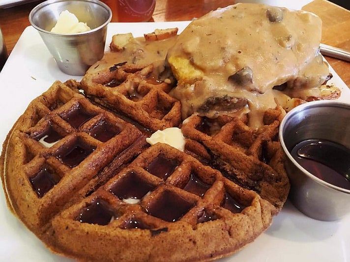 """Chicken"" and waffles at Flore"