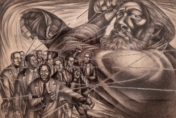 "Charles White, ""Frederick Douglass Lives Again (The Ghost of Frederick Douglass II)"""