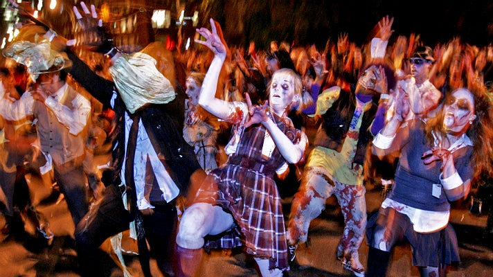 Thriller dancers at West Hollywood Halloween Carnaval