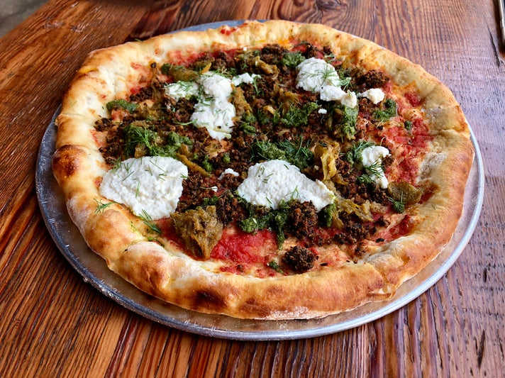Vegan Meatball Pizza at Seabirds Kitchen in Long Beach