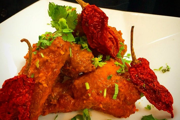 Ghost chili hot wings at Bhanu's Indian Grocery & Cuisine