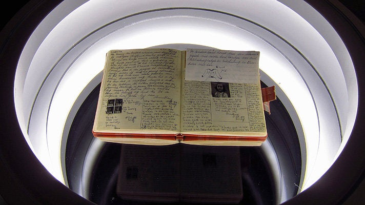 Replica of Anne Frank's diary at the Museum of Tolerance