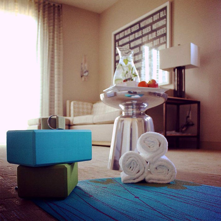 In-room yoga at Hotel Wilshire