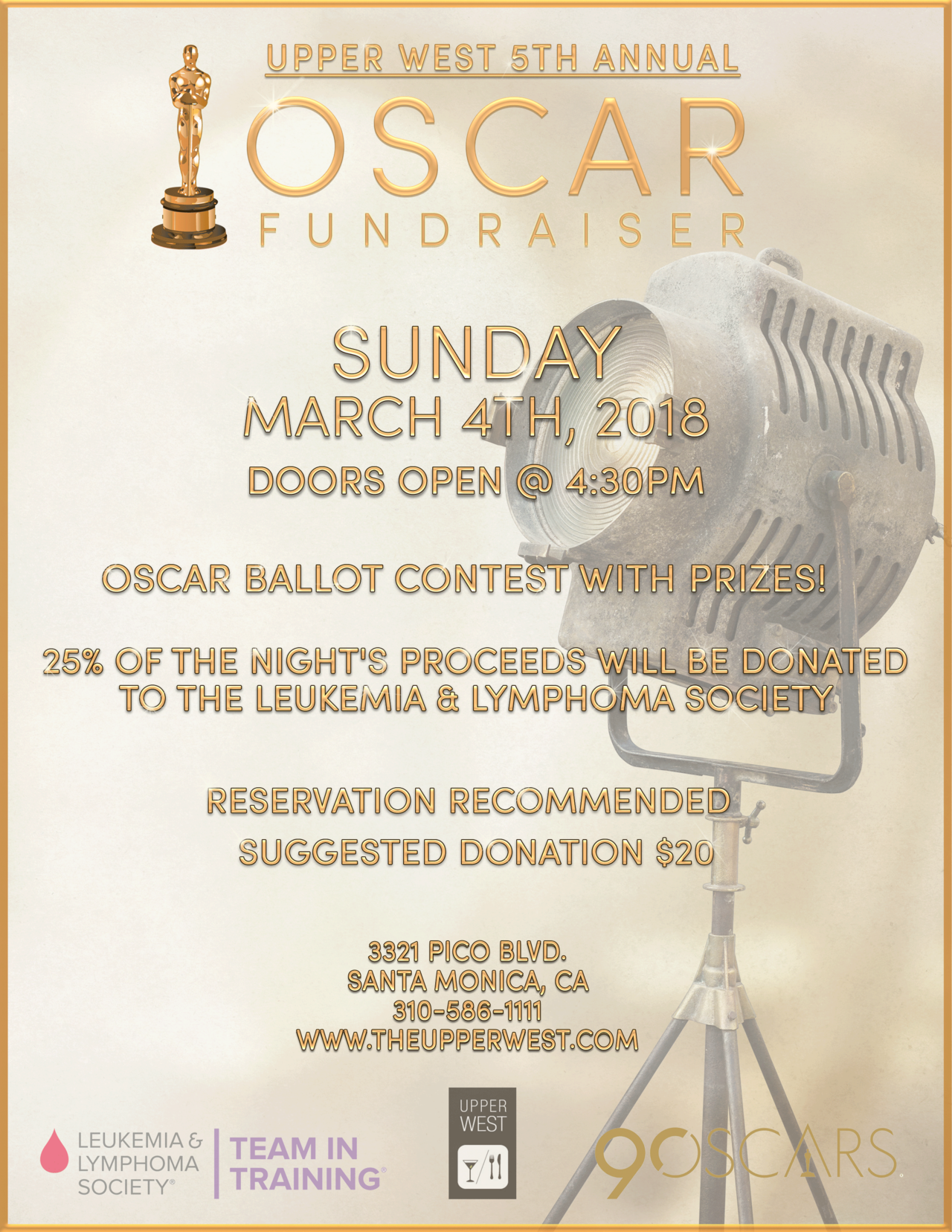 5th Annual Oscar Fundraiser at Upper West